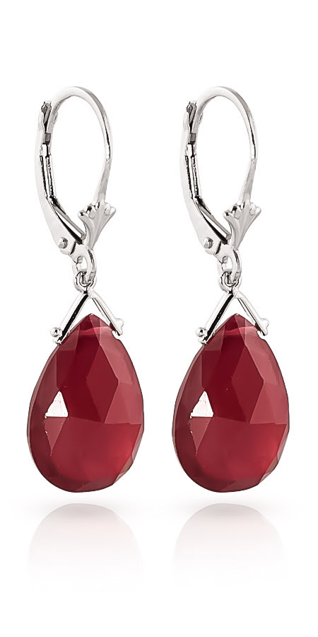 Ruby Droplet Briolette Earrings 16.0ctw in 9ct White Gold
