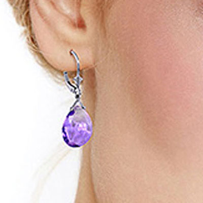 Amethyst Star Heart Drop Earrings 17.0ctw in 9ct White Gold