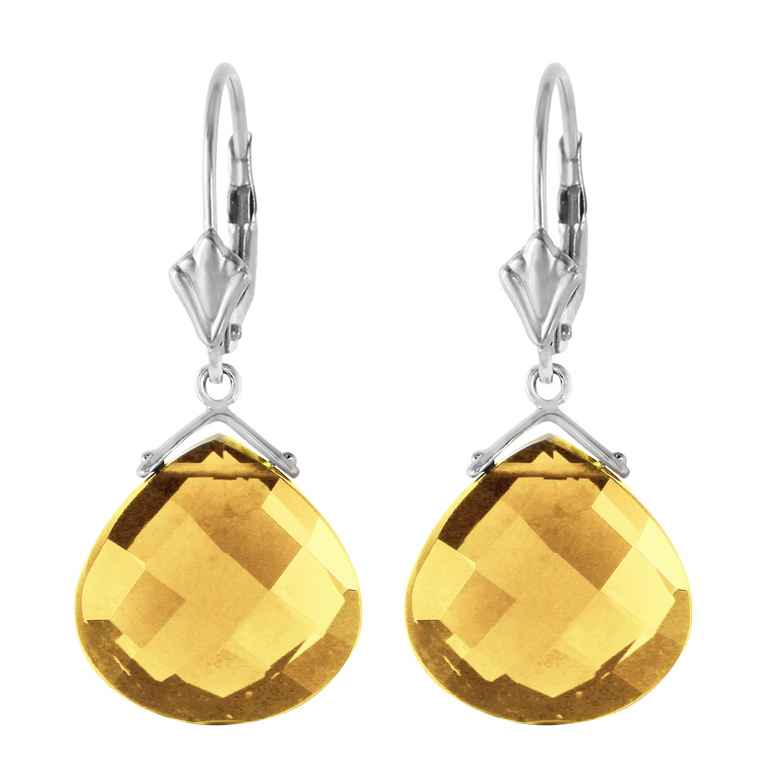 Citrine Star Heart Drop Earrings 17.0ctw in 9ct White Gold