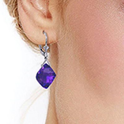 Amethyst Deflection Drop Earrings 17.5ctw in 9ct White Gold