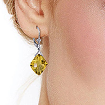Citrine Deflection Drop Earrings 17.5ctw in 9ct White Gold