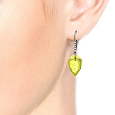 Lemon Quartz and Diamond Drop Earrings 18.0ctw in 9ct White Gold