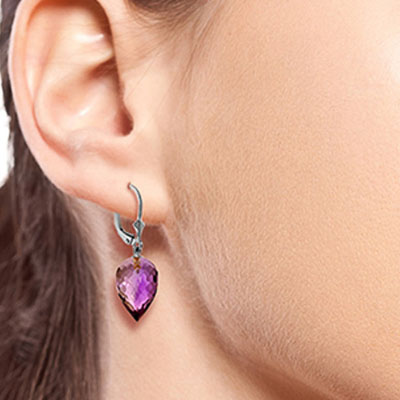 Amethyst Briolette Drop Earrings 19.0ctw in 9ct White Gold