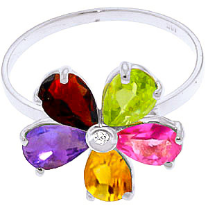Gemstone and Diamond Five Petal Ring 2.2ctw in 9ct White Gold