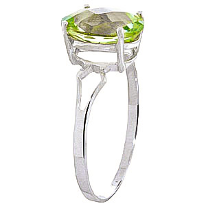 Green Amethyst Claw Set Ring 2.2ct in 9ct White Gold