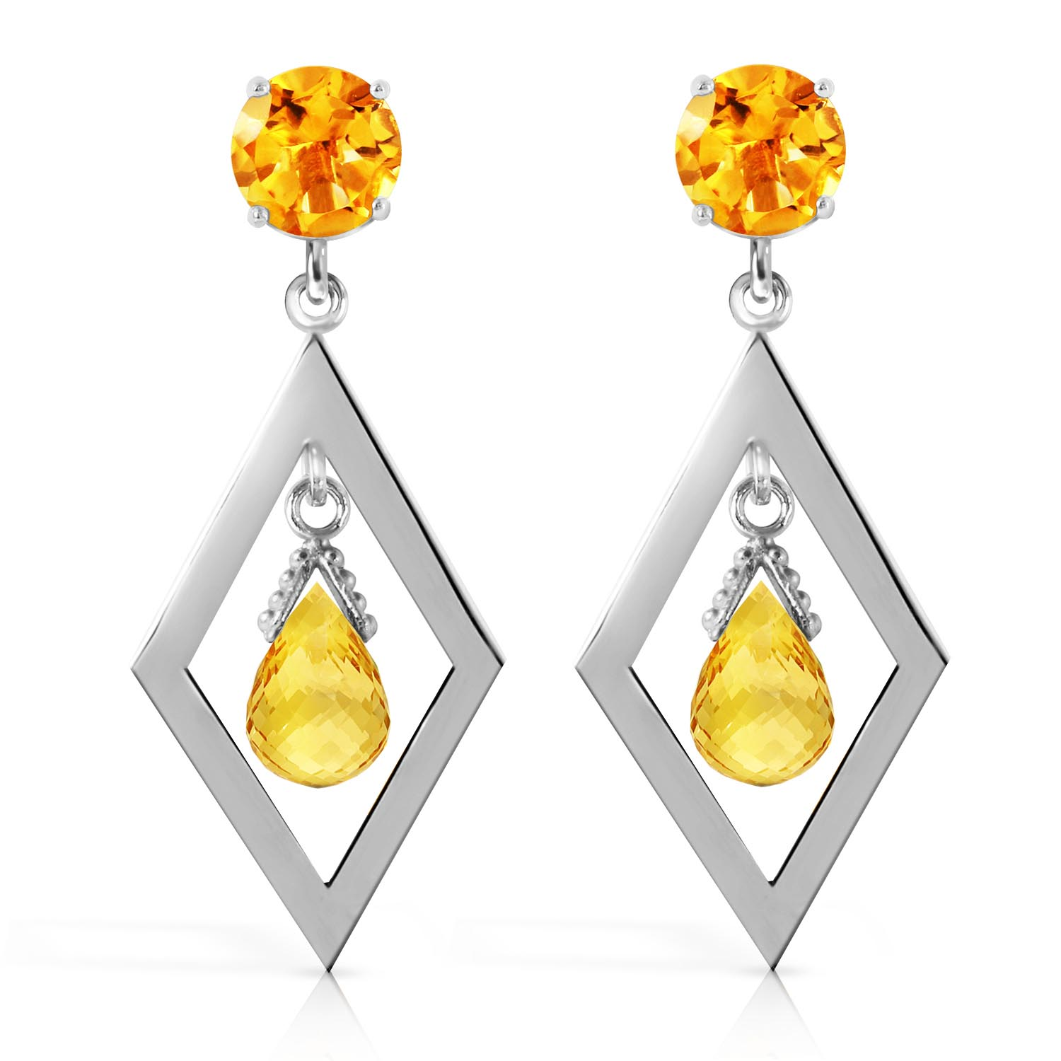 Citrine Kite Drop Earrings 2.4ctw in 9ct White Gold