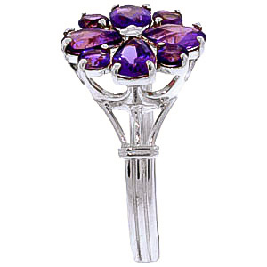 Amethyst Sunflower Cluster Ring 2.43ctw in 9ct White Gold