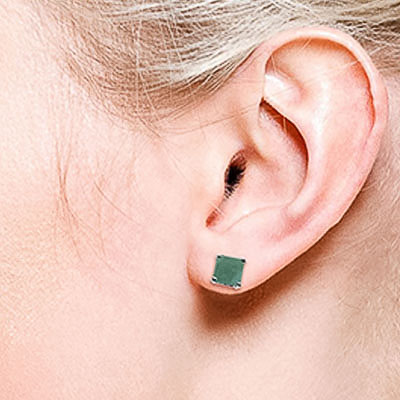 Emerald Stud Earrings 2.9ctw in 9ct White Gold