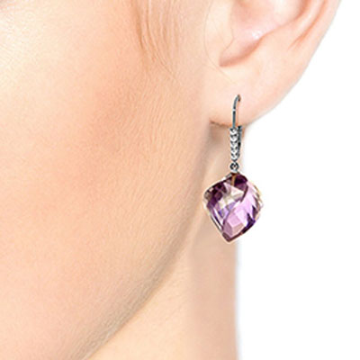 Amethyst and Diamond Drop Earrings 21.5ctw in 9ct White Gold