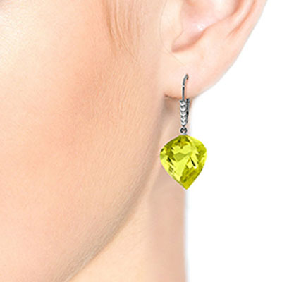 Lemon Quartz and Diamond Drop Earrings 21.5ctw in 9ct White Gold