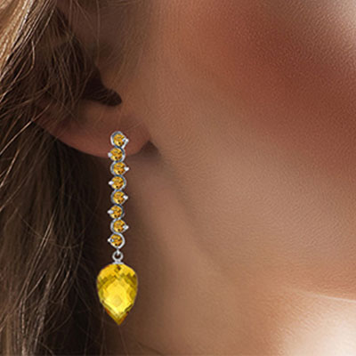 Citrine Briolette Drop Earrings 22.1ctw in 9ct White Gold