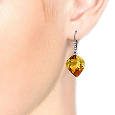 Citrine and Diamond Drop Earrings 23.5ctw in 9ct White Gold
