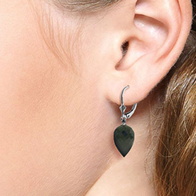 Black Spinel Briolette Drop Earrings 24.5ctw in 9ct White Gold