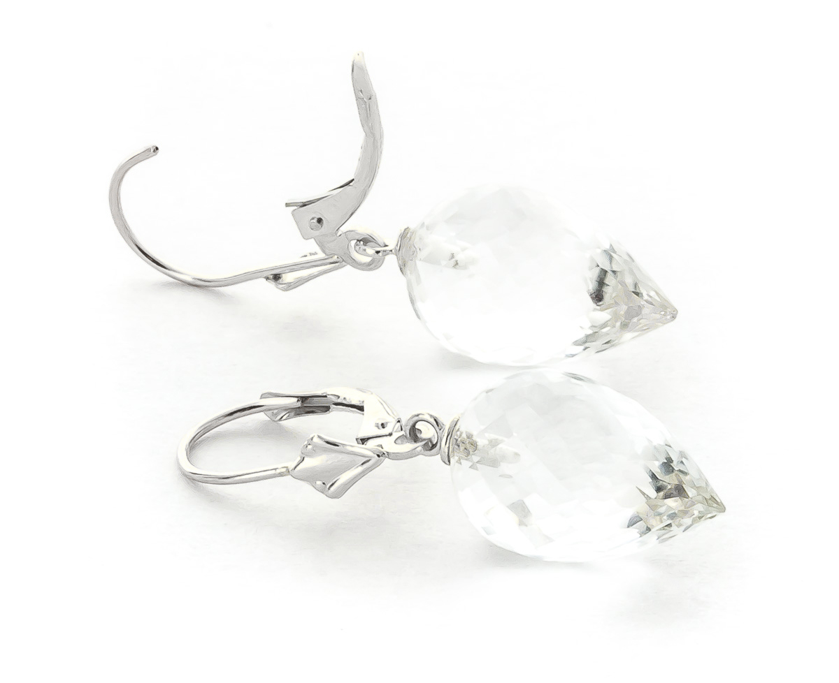 White Topaz Briolette Drop Earrings 24.5ctw in 9ct White Gold