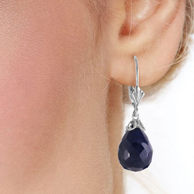 Sapphire Crown Briolette Drop Earrings 29.6ctw in 9ct White Gold