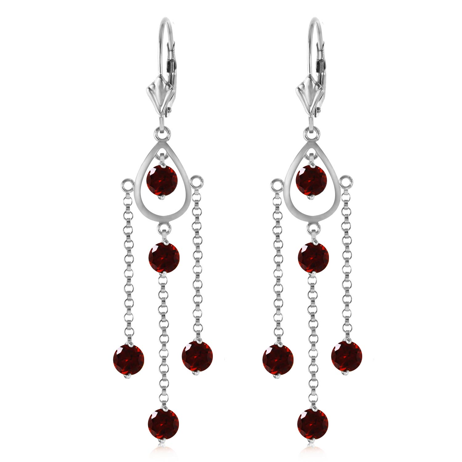 Garnet Faro Drop Earrings 3.0ctw in 9ct White Gold