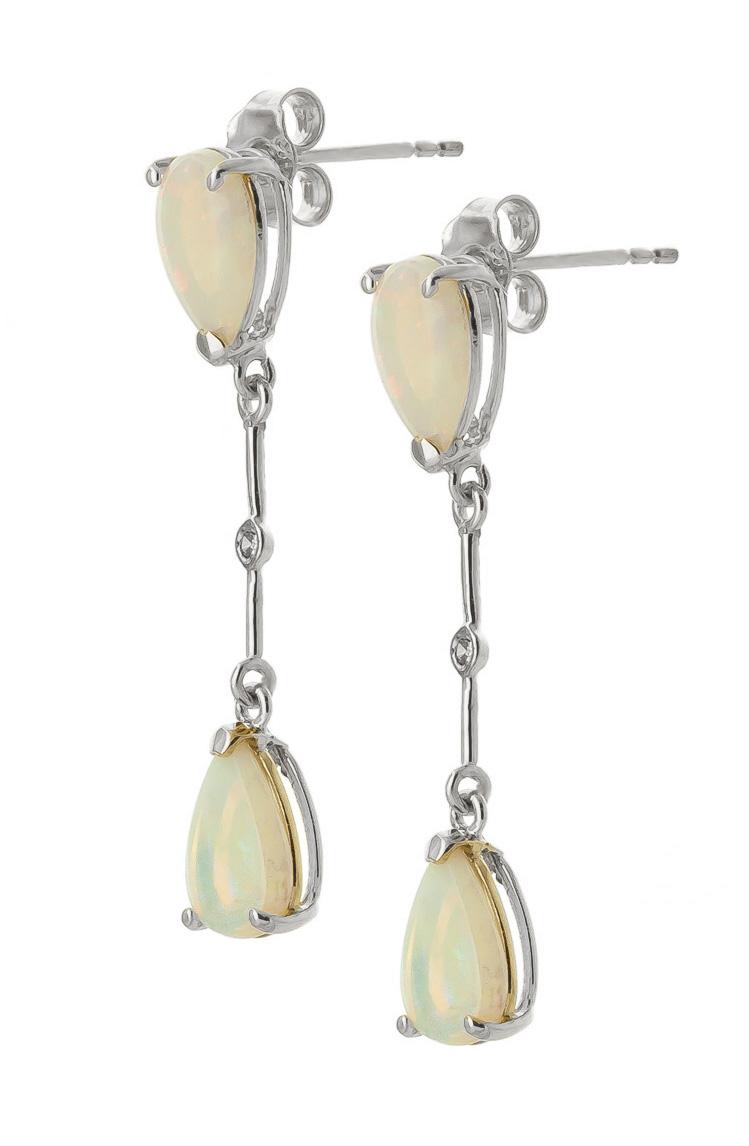 Opal and Diamond Drop Earrings 3.0ctw in 9ct White Gold