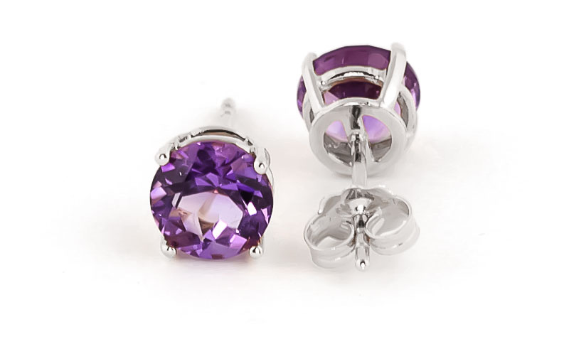 Amethyst Stud Earrings 3.1ctw in 9ct White Gold