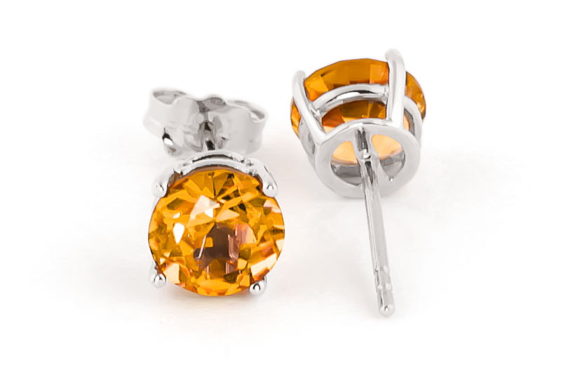 Citrine Stud Earrings 3.1ctw in 9ct White Gold