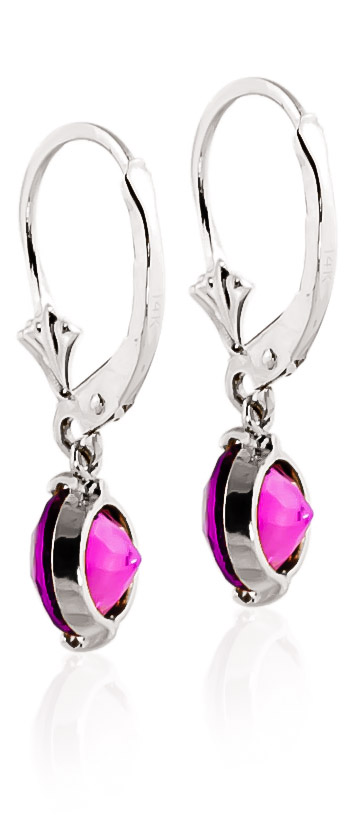 Pink Topaz Drop Earrings 3.1ctw in 9ct White Gold