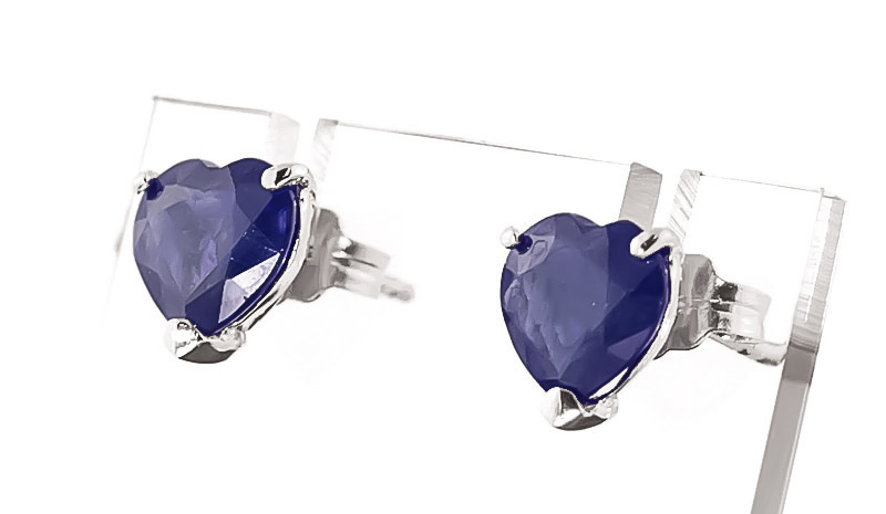 Sapphire Heart Stud Earrings 3.1ctw in 9ct White Gold