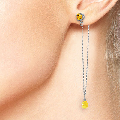 Citrine Monte Carlo Drop Earrings 3.15ctw in 9ct White Gold
