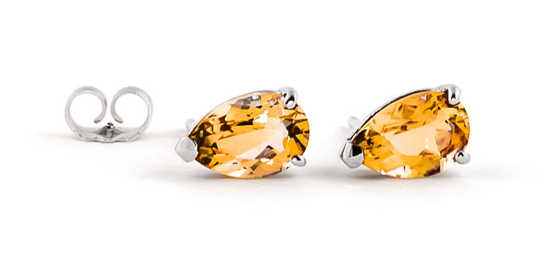 Citrine Stud Earrings 3.15ctw in 9ct White Gold