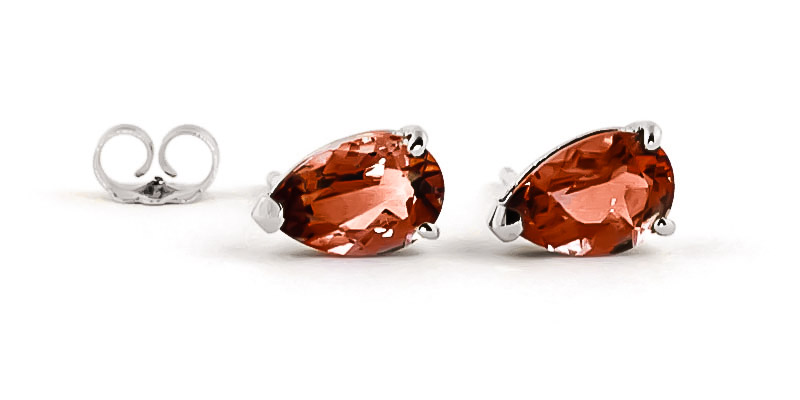 Garnet Stud Earrings 3.15ctw in 9ct White Gold