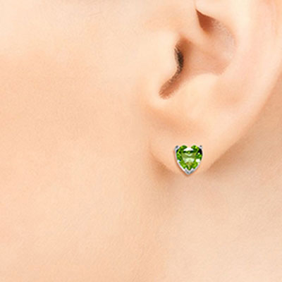 Peridot Heart Stud Earrings 3.25ctw in 9ct White Gold