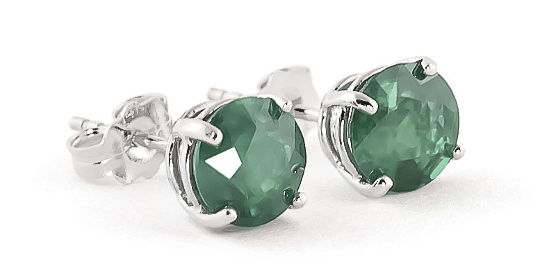 Emerald Stud Earrings 3.3ctw in 9ct White Gold