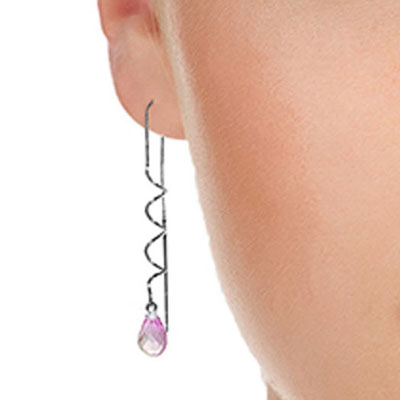 Pink Topaz Spiral Scintilla Briolette Earrings 3.3ctw in 9ct White Gold
