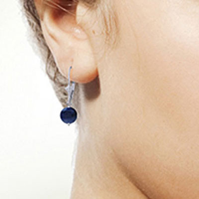 Sapphire Drop Earrings 3.3ctw in 9ct White Gold