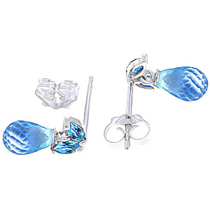 Blue Topaz Snowdrop Briolette Stud Earrings 3.4ctw in 9ct White Gold