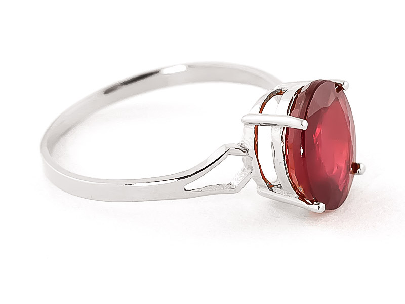 Ruby Claw Set Ring 3.5ct in 9ct White Gold