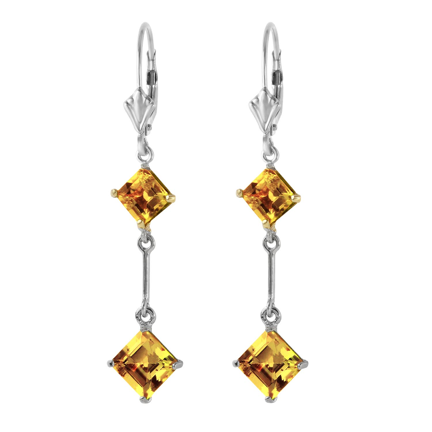Citrine Two Tier Drop Earrings 3.75ctw in 9ct White Gold