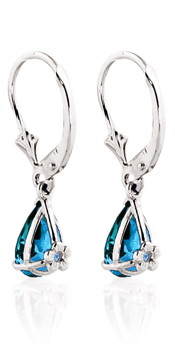 Blue Topaz Belle Drop Earrings 3.77ctw in 9ct White Gold