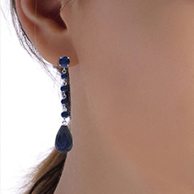 Sapphire by the Yard Drop Earrings 31.6ctw in 9ct White Gold