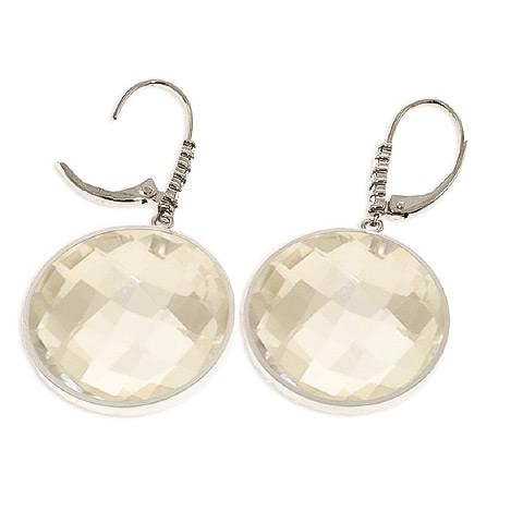 White Topaz and Diamond Drop Earrings 36.0ctw in 9ct White Gold