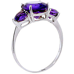 Amethyst Three Stone Ring 4.0ctw in 9ct White Gold