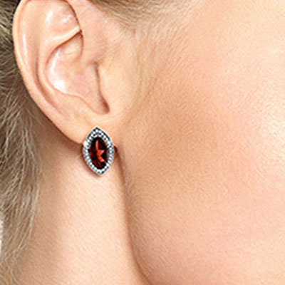 Garnet and Diamond French Clip Halo Earrings 4.0ctw in 9ct White Gold