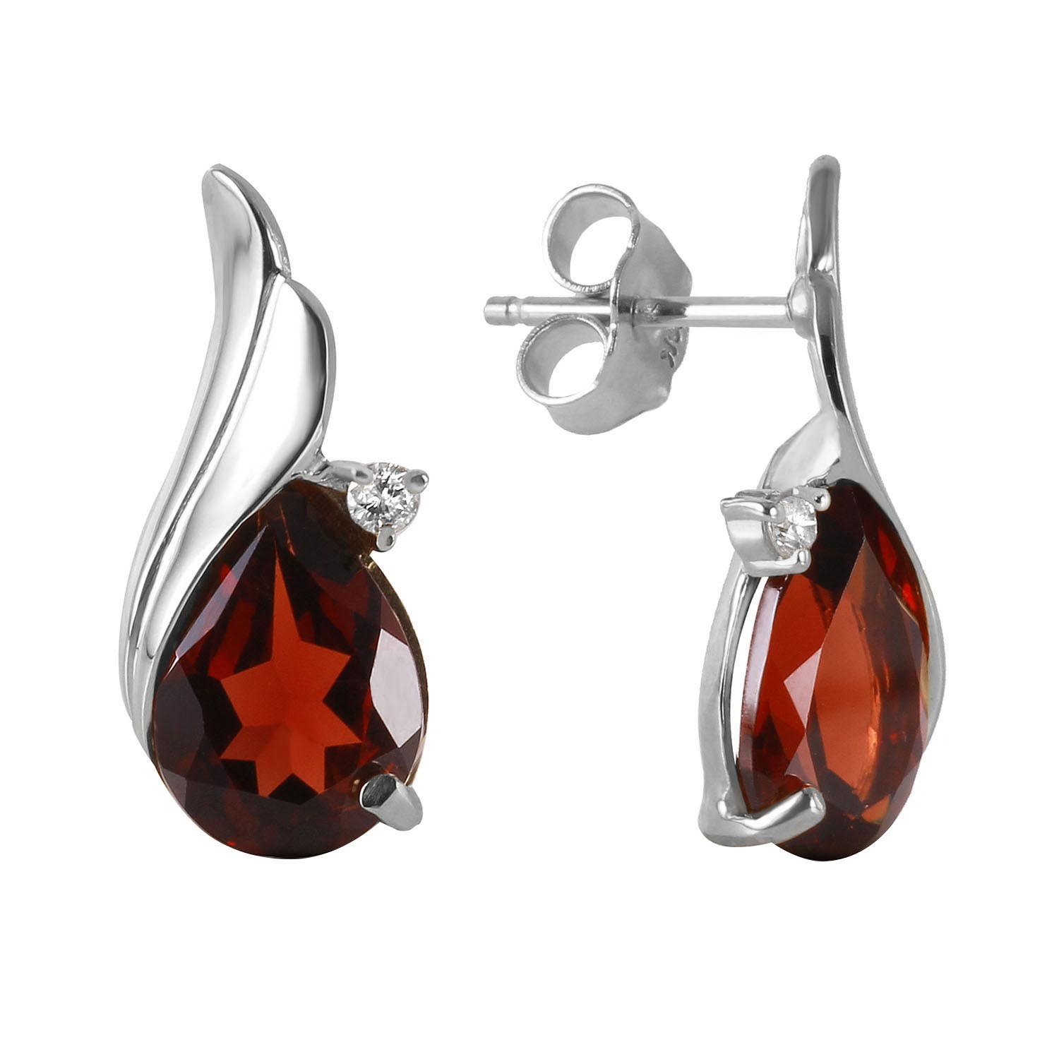 Garnet and Diamond Stud Earrings 4.0ctw in 9ct White Gold