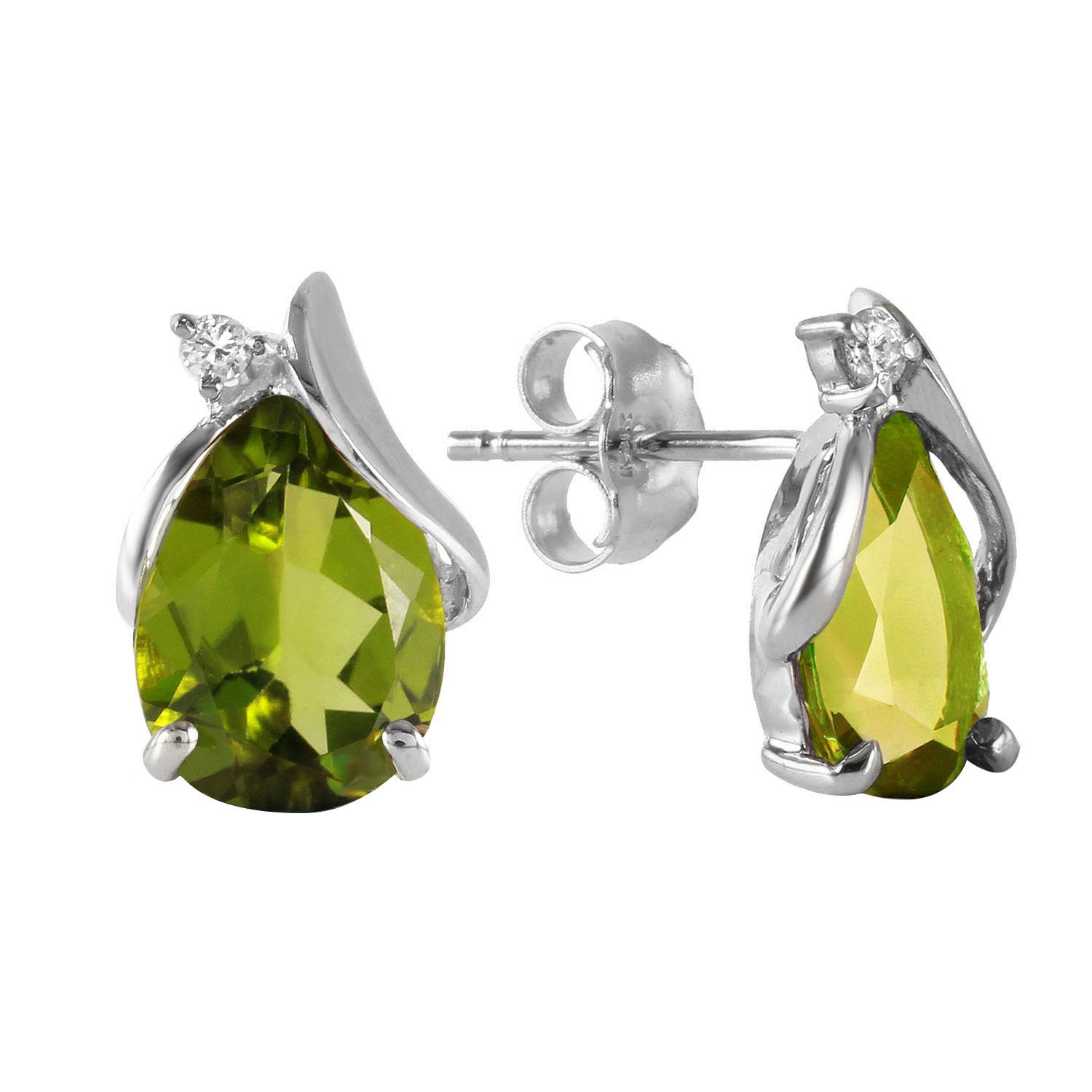 Peridot and Diamond Stud Earrings 4.2ctw in 9ct White Gold
