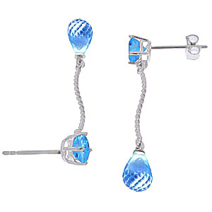 Blue Topaz Lure Drop Earrings 4.3ctw in 9ct White Gold