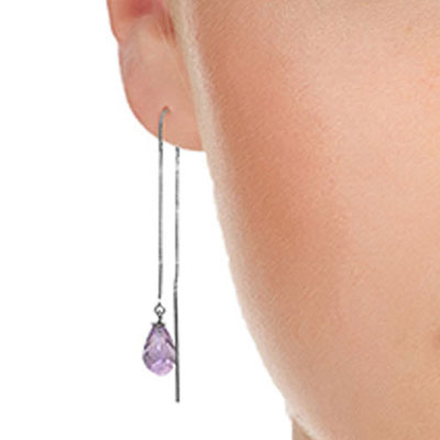 Amethyst Scintilla Briolette Earrings 4.5ctw in 9ct White Gold