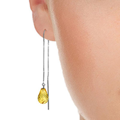 Citrine Scintilla Briolette Earrings 4.5ctw in 9ct White Gold
