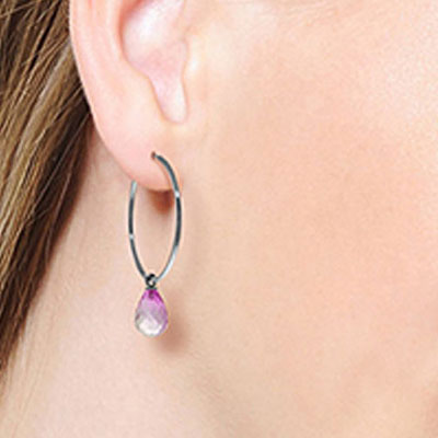Pink Topaz Briolette Earrings 4.5ctw in 9ct White Gold