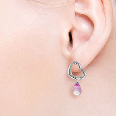Pink Topaz Stud Earrings 4.5ctw in 9ct White Gold
