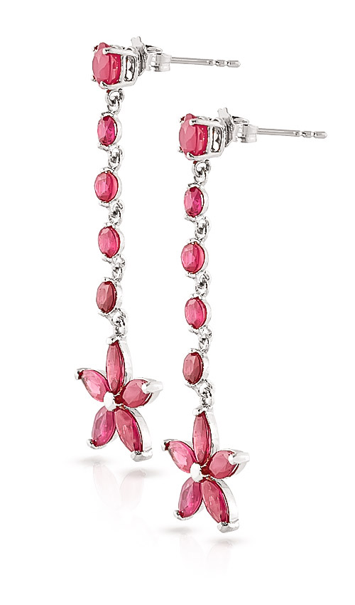 Ruby Daisy Chain Drop Earrings 4.8ctw in 9ct White Gold