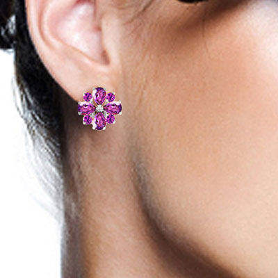 Amethyst Sunflower Stud Earrings 4.85ctw in 9ct White Gold