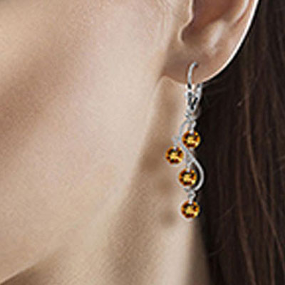 Citrine Dream Catcher Drop Earrings 4.95ctw in 9ct White Gold